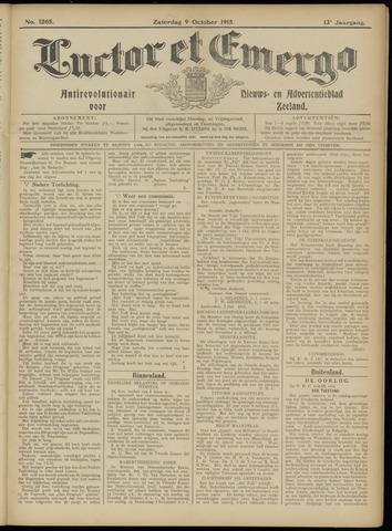 Luctor et Emergo. Antirevolutionair nieuws- en advertentieblad voor Zeeland / Zeeuwsch-Vlaanderen. Orgaan ter verspreiding van de christelijke beginselen in Zeeuwsch-Vlaanderen 1915-10-09