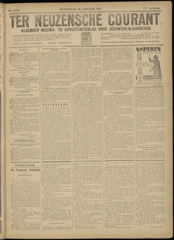 Ter Neuzensche Courant. Algemeen Nieuws- en Advertentieblad voor Zeeuwsch-Vlaanderen / Neuzensche Courant ... (idem) / (Algemeen) nieuws en advertentieblad voor Zeeuwsch-Vlaanderen 1931-01-28