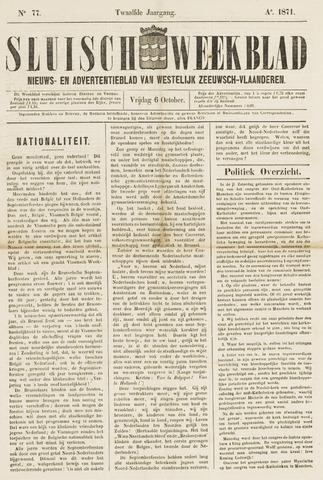 Sluisch Weekblad. Nieuws- en advertentieblad voor Westelijk Zeeuwsch-Vlaanderen 1871-10-06
