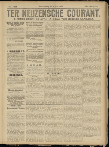 Ter Neuzensche Courant. Algemeen Nieuws- en Advertentieblad voor Zeeuwsch-Vlaanderen / Neuzensche Courant ... (idem) / (Algemeen) nieuws en advertentieblad voor Zeeuwsch-Vlaanderen 1923-04-11