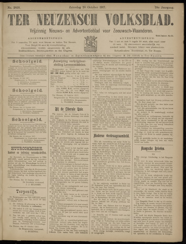 Ter Neuzensch Volksblad. Vrijzinnig nieuws- en advertentieblad voor Zeeuwsch- Vlaanderen / Zeeuwsch Nieuwsblad. Nieuws- en advertentieblad voor Zeeland 1917-10-20