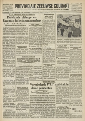 Provinciale Zeeuwse Courant 1952-02-26