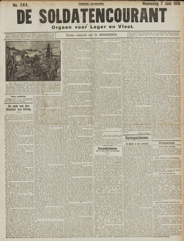 De Soldatencourant. Orgaan voor Leger en Vloot 1916-06-07