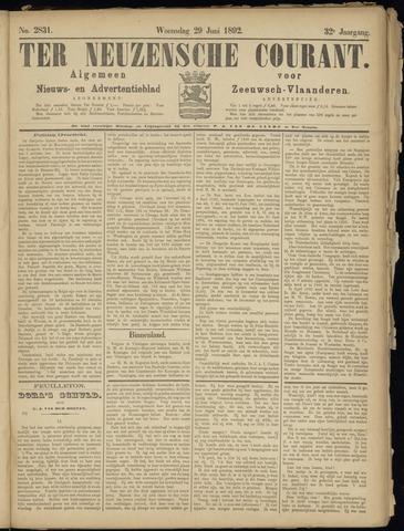 Ter Neuzensche Courant. Algemeen Nieuws- en Advertentieblad voor Zeeuwsch-Vlaanderen / Neuzensche Courant ... (idem) / (Algemeen) nieuws en advertentieblad voor Zeeuwsch-Vlaanderen 1892-06-29