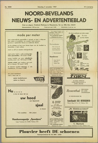 Noord-Bevelands Nieuws- en advertentieblad 1957-11-02