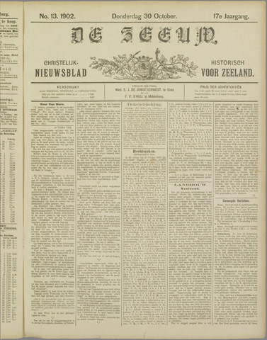 De Zeeuw. Christelijk-historisch nieuwsblad voor Zeeland 1902-10-30