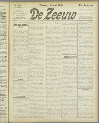 De Zeeuw. Christelijk-historisch nieuwsblad voor Zeeland 1924-07-19