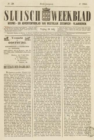 Sluisch Weekblad. Nieuws- en advertentieblad voor Westelijk Zeeuwsch-Vlaanderen 1865-07-21