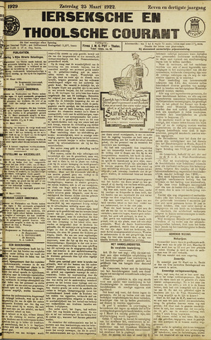 Ierseksche en Thoolsche Courant 1922-03-25