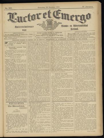 Luctor et Emergo. Antirevolutionair nieuws- en advertentieblad voor Zeeland / Zeeuwsch-Vlaanderen. Orgaan ter verspreiding van de christelijke beginselen in Zeeuwsch-Vlaanderen 1914-10-24