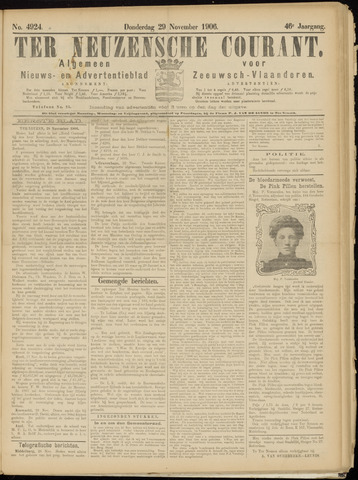 Ter Neuzensche Courant. Algemeen Nieuws- en Advertentieblad voor Zeeuwsch-Vlaanderen / Neuzensche Courant ... (idem) / (Algemeen) nieuws en advertentieblad voor Zeeuwsch-Vlaanderen 1906-11-29