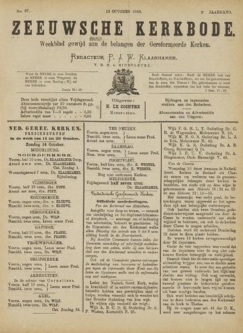 Zeeuwsche kerkbode, weekblad gewijd aan de belangen der gereformeerde kerken/ Zeeuwsch kerkblad 1888-10-13