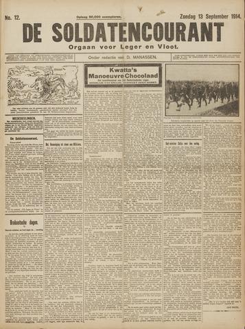 De Soldatencourant. Orgaan voor Leger en Vloot 1914-09-13