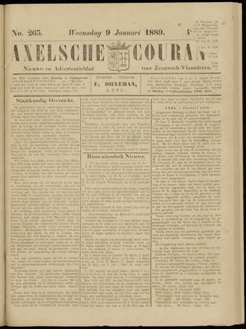 Axelsche Courant 1889-01-09