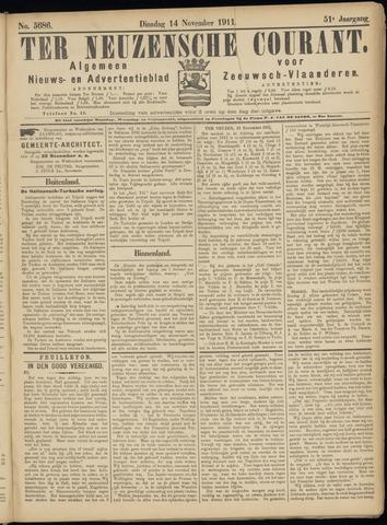 Ter Neuzensche Courant. Algemeen Nieuws- en Advertentieblad voor Zeeuwsch-Vlaanderen / Neuzensche Courant ... (idem) / (Algemeen) nieuws en advertentieblad voor Zeeuwsch-Vlaanderen 1911-11-14