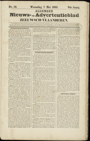 Ter Neuzensche Courant. Algemeen Nieuws- en Advertentieblad voor Zeeuwsch-Vlaanderen / Neuzensche Courant ... (idem) / (Algemeen) nieuws en advertentieblad voor Zeeuwsch-Vlaanderen 1862-05-07