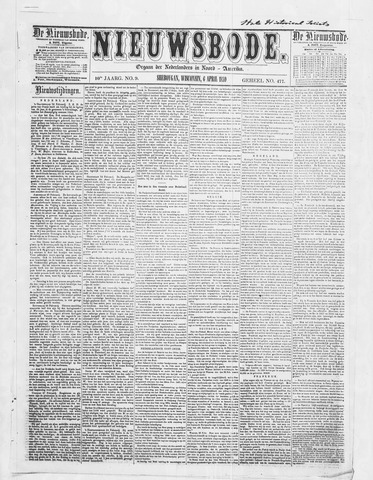 Sheboygan Nieuwsbode 1859-04-06
