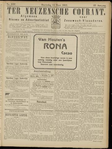 Ter Neuzensche Courant. Algemeen Nieuws- en Advertentieblad voor Zeeuwsch-Vlaanderen / Neuzensche Courant ... (idem) / (Algemeen) nieuws en advertentieblad voor Zeeuwsch-Vlaanderen 1912-03-14
