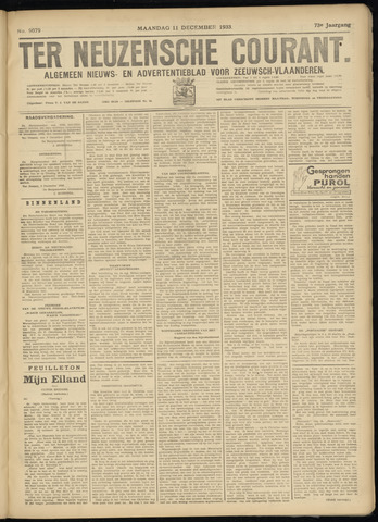 Ter Neuzensche Courant. Algemeen Nieuws- en Advertentieblad voor Zeeuwsch-Vlaanderen / Neuzensche Courant ... (idem) / (Algemeen) nieuws en advertentieblad voor Zeeuwsch-Vlaanderen 1933-12-11