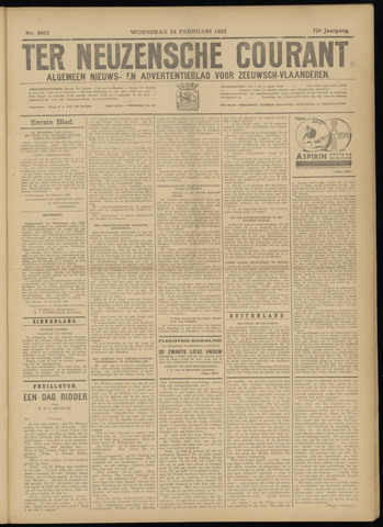 Ter Neuzensche Courant. Algemeen Nieuws- en Advertentieblad voor Zeeuwsch-Vlaanderen / Neuzensche Courant ... (idem) / (Algemeen) nieuws en advertentieblad voor Zeeuwsch-Vlaanderen 1932-02-24