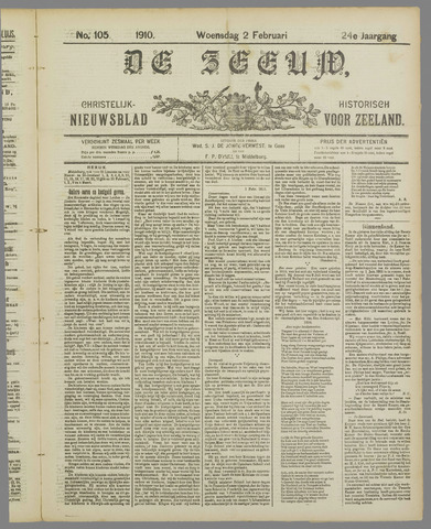 De Zeeuw. Christelijk-historisch nieuwsblad voor Zeeland 1910-02-02