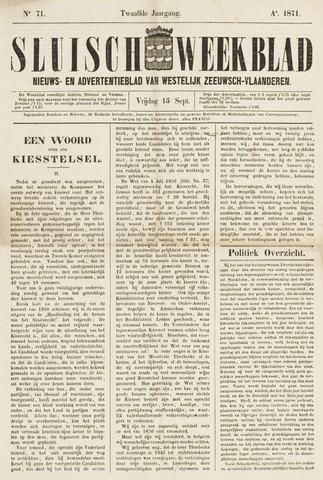 Sluisch Weekblad. Nieuws- en advertentieblad voor Westelijk Zeeuwsch-Vlaanderen 1871-09-15
