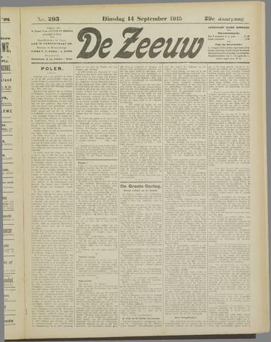 De Zeeuw. Christelijk-historisch nieuwsblad voor Zeeland 1915-09-14