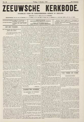 Zeeuwsche kerkbode, weekblad gewijd aan de belangen der gereformeerde kerken/ Zeeuwsch kerkblad 1938-10-07