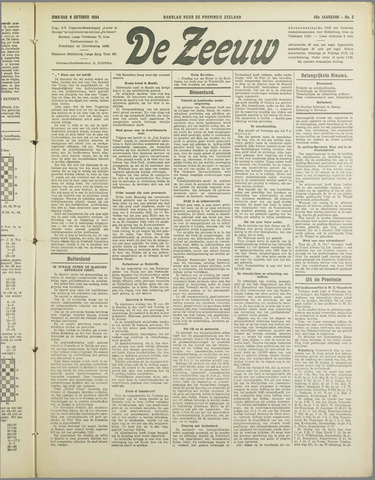 De Zeeuw. Christelijk-historisch nieuwsblad voor Zeeland 1934-10-09