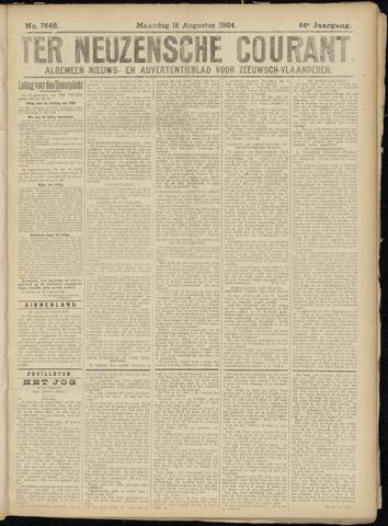 Ter Neuzensche Courant. Algemeen Nieuws- en Advertentieblad voor Zeeuwsch-Vlaanderen / Neuzensche Courant ... (idem) / (Algemeen) nieuws en advertentieblad voor Zeeuwsch-Vlaanderen 1924-08-18