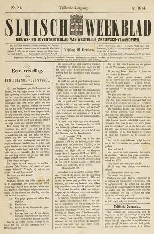 Sluisch Weekblad. Nieuws- en advertentieblad voor Westelijk Zeeuwsch-Vlaanderen 1874-10-16