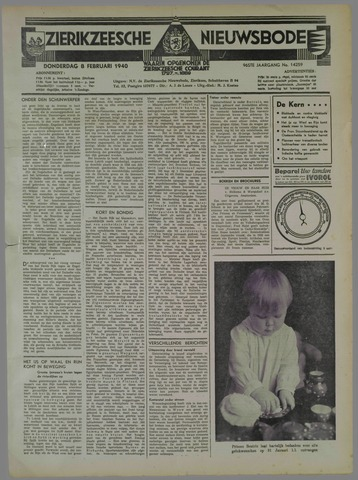 Zierikzeesche Nieuwsbode 1940-02-08