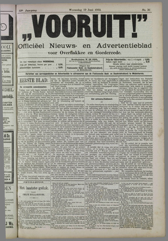"""""""Vooruit!""""Officieel Nieuws- en Advertentieblad voor Overflakkee en Goedereede 1912-06-19"""