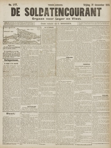 De Soldatencourant. Orgaan voor Leger en Vloot 1915-12-31