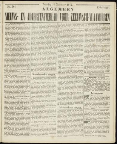 Ter Neuzensche Courant. Algemeen Nieuws- en Advertentieblad voor Zeeuwsch-Vlaanderen / Neuzensche Courant ... (idem) / (Algemeen) nieuws en advertentieblad voor Zeeuwsch-Vlaanderen 1872-11-16