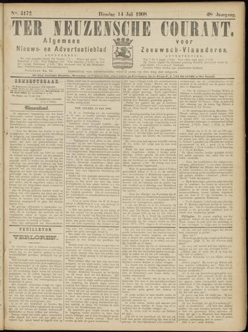 Ter Neuzensche Courant. Algemeen Nieuws- en Advertentieblad voor Zeeuwsch-Vlaanderen / Neuzensche Courant ... (idem) / (Algemeen) nieuws en advertentieblad voor Zeeuwsch-Vlaanderen 1908-07-14