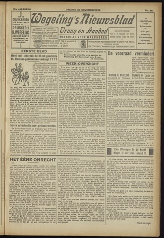Zeeuwsch Nieuwsblad/Wegeling's Nieuwsblad 1925-11-20