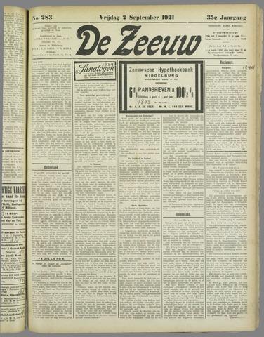 De Zeeuw. Christelijk-historisch nieuwsblad voor Zeeland 1921-09-02