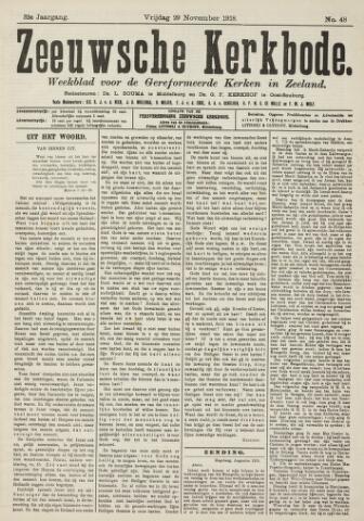 Zeeuwsche kerkbode, weekblad gewijd aan de belangen der gereformeerde kerken/ Zeeuwsch kerkblad 1918-11-29