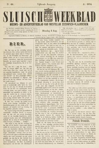 Sluisch Weekblad. Nieuws- en advertentieblad voor Westelijk Zeeuwsch-Vlaanderen 1874-08-04