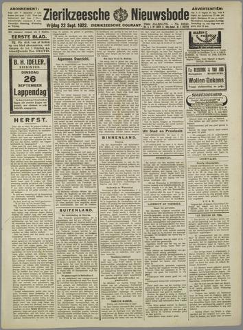 Zierikzeesche Nieuwsbode 1922-09-22