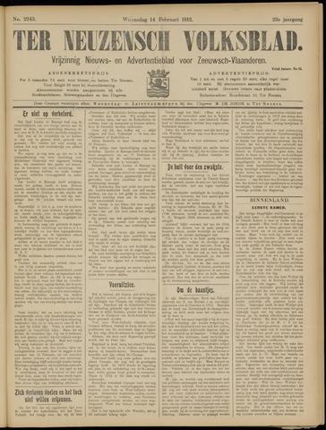 Ter Neuzensch Volksblad. Vrijzinnig nieuws- en advertentieblad voor Zeeuwsch- Vlaanderen / Zeeuwsch Nieuwsblad. Nieuws- en advertentieblad voor Zeeland 1912-02-14