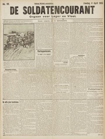 De Soldatencourant. Orgaan voor Leger en Vloot 1915-04-04