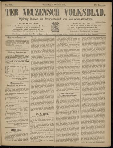 Ter Neuzensch Volksblad. Vrijzinnig nieuws- en advertentieblad voor Zeeuwsch- Vlaanderen / Zeeuwsch Nieuwsblad. Nieuws- en advertentieblad voor Zeeland 1917-10-31