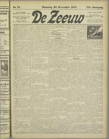 De Zeeuw. Christelijk-historisch nieuwsblad voor Zeeland 1924-12-29