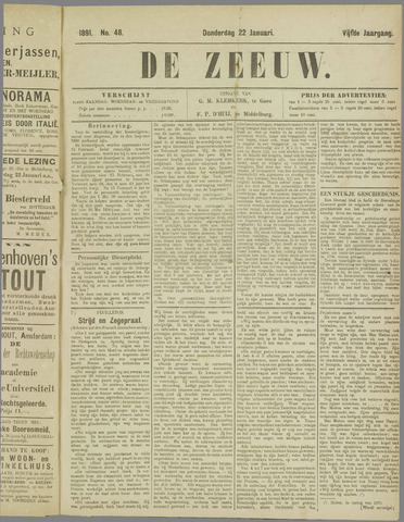 De Zeeuw. Christelijk-historisch nieuwsblad voor Zeeland 1891-01-22