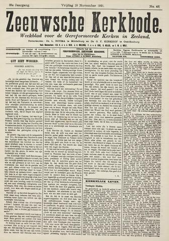 Zeeuwsche kerkbode, weekblad gewijd aan de belangen der gereformeerde kerken/ Zeeuwsch kerkblad 1921-11-18