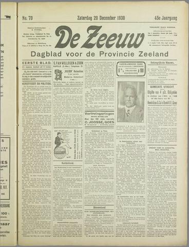 De Zeeuw. Christelijk-historisch nieuwsblad voor Zeeland 1930-12-20