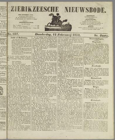 Zierikzeesche Nieuwsbode 1852-02-12