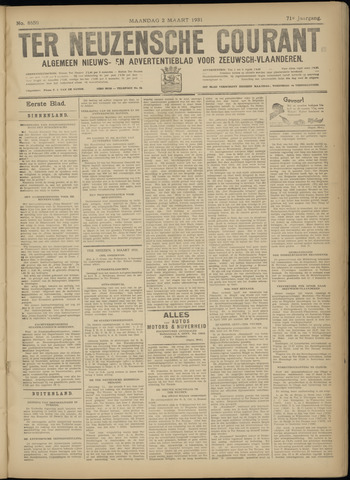 Ter Neuzensche Courant. Algemeen Nieuws- en Advertentieblad voor Zeeuwsch-Vlaanderen / Neuzensche Courant ... (idem) / (Algemeen) nieuws en advertentieblad voor Zeeuwsch-Vlaanderen 1931-03-02